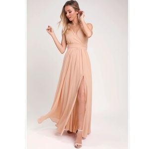 Lulus Thoughts of Hue Blush Surplice Maxi Dress